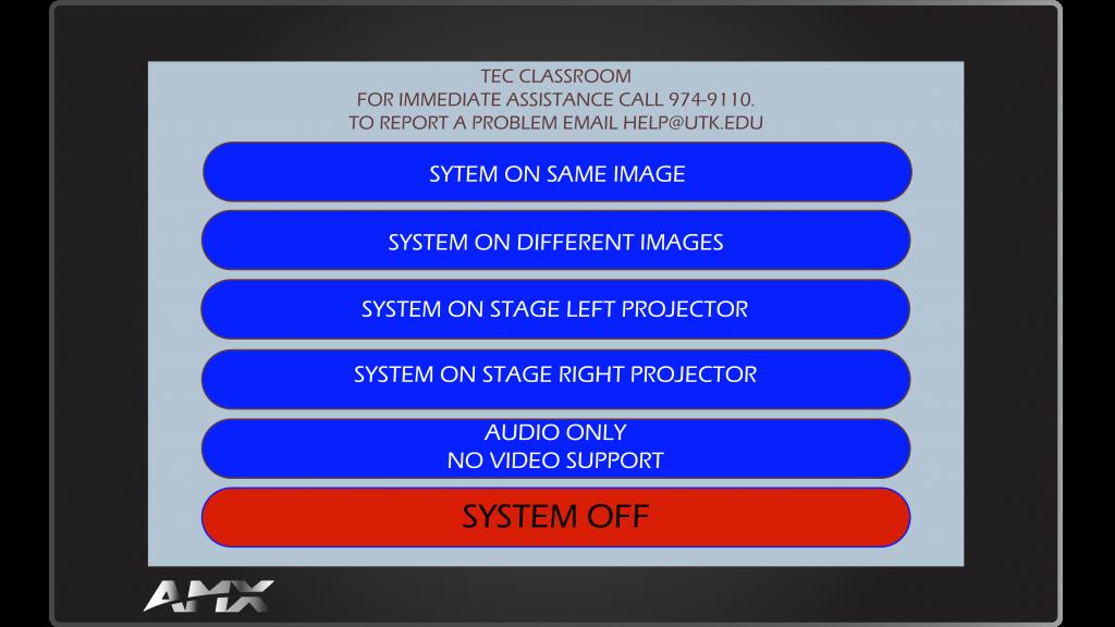 AMX Style 14 Main Screen