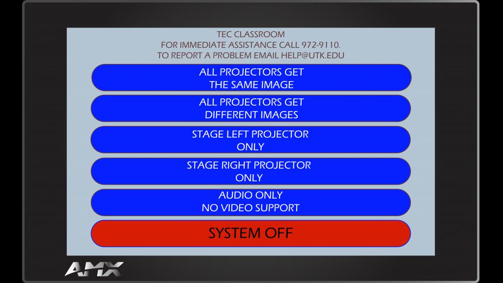 AMX Style 3 Main Screen