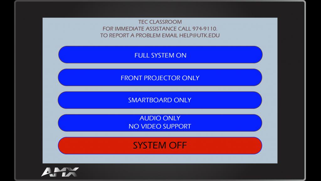 AMX Style 36 Main Screen