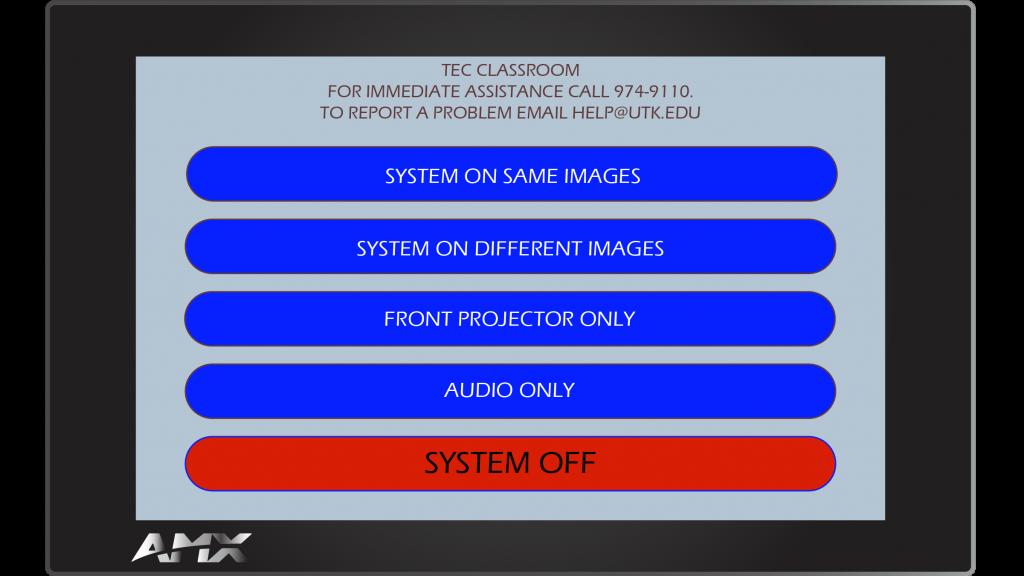 AMX Style 48 Main Screen